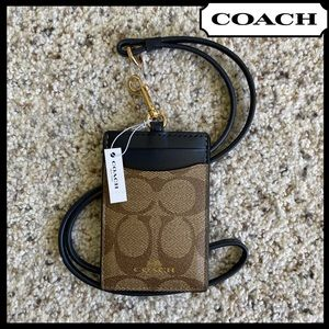 COACH ID Lanyard Signature Canvas Navy Brown NEW